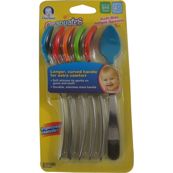 Gerber Infant Spoons BPA Free, Silicone, 4+ Months 6 ea