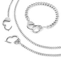 Stainless Steel Chain Hand Cuff Bracelet and Necklace Combo Set (8 mm)