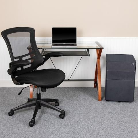 Office Set-Glass Computer Desk, Ergonomic Mesh Office Chair, Filing Cabinet
