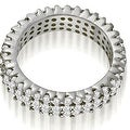 2.20 cttw. 14K White Gold Three-Row Round Cut Diamond Wedding Eternity Band - Thumbnail 1