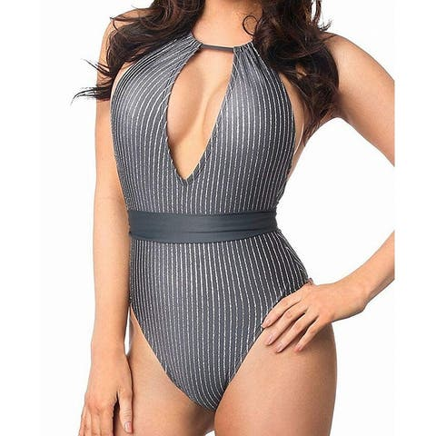 Daisy Beachwear Silver Women's Large L One-Piece Shimmer Swimwear