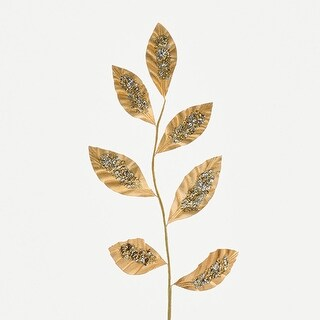 """22"""" Decorative Gold Leaves with Silver Sequins Artificial Christmas Branch"""