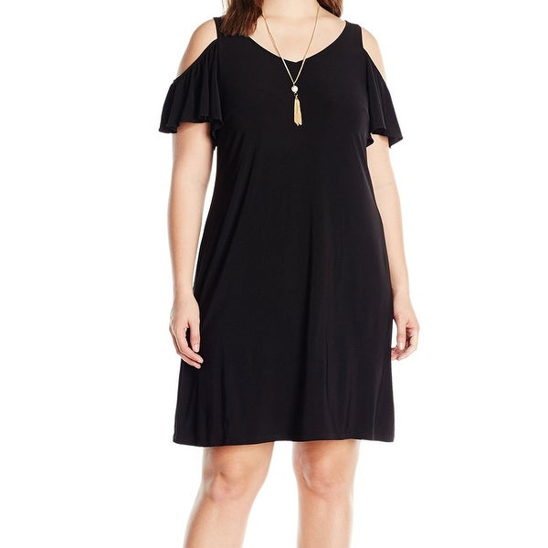 5180b5f5685 Shop MSK Women s Plus Size 3X Cold Shoulder Knit W  Removable Necklace Dress  - Free Shipping On Orders Over  45 - Overstock - 17796399