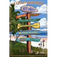 Key West, FL Conch Republic Dest Sign - LP Artwork (Art Print - Multiple Sizes)
