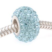 Sterling Silver Sparkle Bead March Birthstone Aquamarine Crystal In Ferido European Style Large Hole 12mm