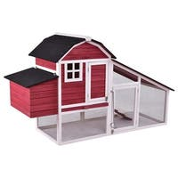 Gymax 76'' Large Deluxe Wooden Chicken Coop Backyard Nest Box Hen House Hutch - as pic