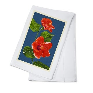 Red Hibiscus - Letterpress - Lantern Press Artwork (100% Cotton Towel Absorbent)