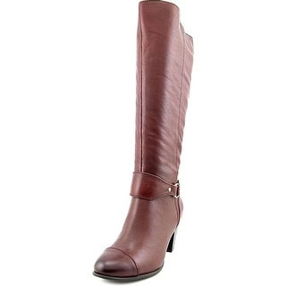 Giani Bernini Cagney Wide Calf Women Round Toe Leather Red Knee High Boot