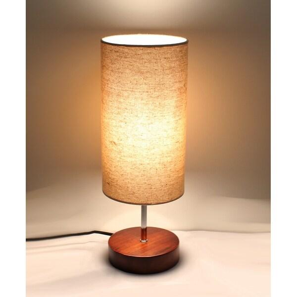 Kanstar Fine Textured Wooden Table Lamp Round