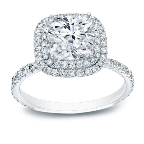Auriya 18k Gold 3ct Cushion-cut Halo Diamond Engagement Ring 3ct TDW Certified