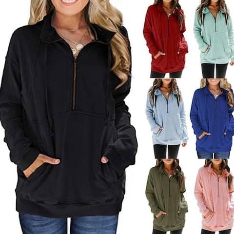 Half-Zip Solid Color Sweatshirt Loose Pullover With Pocket