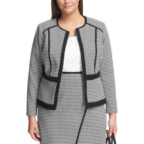 Calvin Klein Womens Plus Jacket Houndstooth Zip-Front