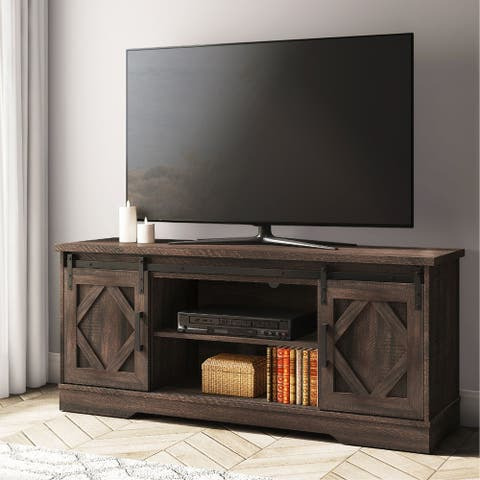 "Farmhouse Sliding Barn Door TV Stand for TVs up to 70"" Rustic Brown - 59"""