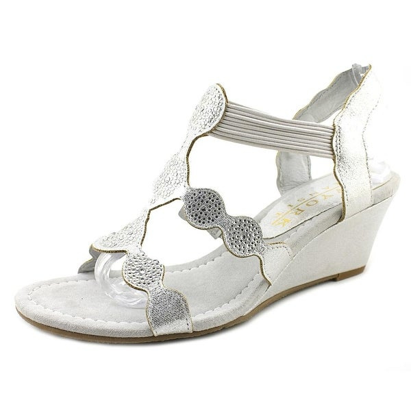 New York Transit Love You Wedge Women Open Toe Synthetic Silver Wedge Sandal