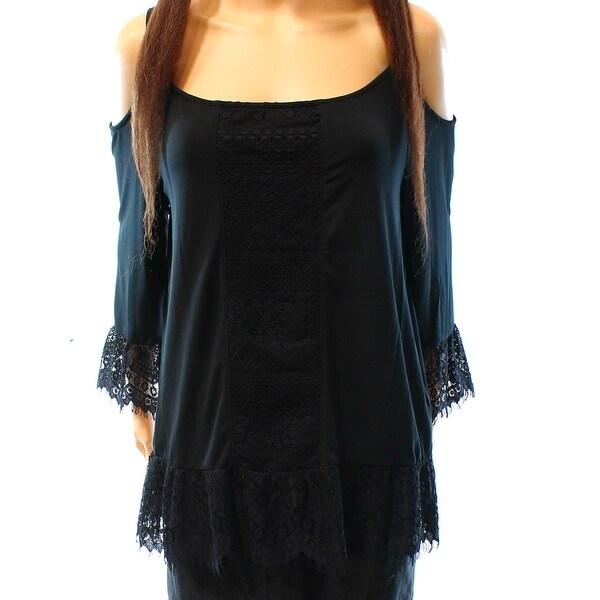 INC NEW Deep Black Women's Size XL Cold Shoulder Lace Trim Blouse