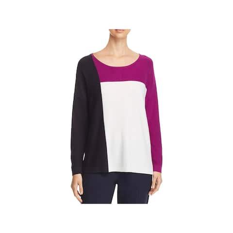 Donna Karan Womens Winter Garden Pullover Sweater Crewneck Colorblock