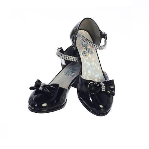 Girls Black Patent Rhinestone Strap Bella Dress Shoes