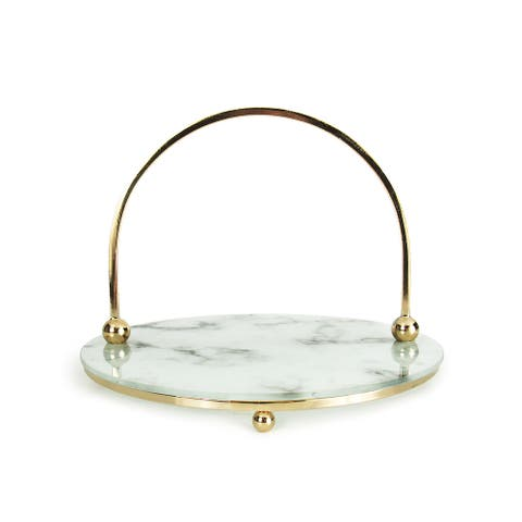 Round Marble Look Glass Decorative Tray with Gold Handles