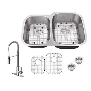 "Build Essentials DSS183220C4060/MK6557  32"" Undermount Double Basin Stainless Steel Kitchen Sink with Single Hole 1.8 GPM"