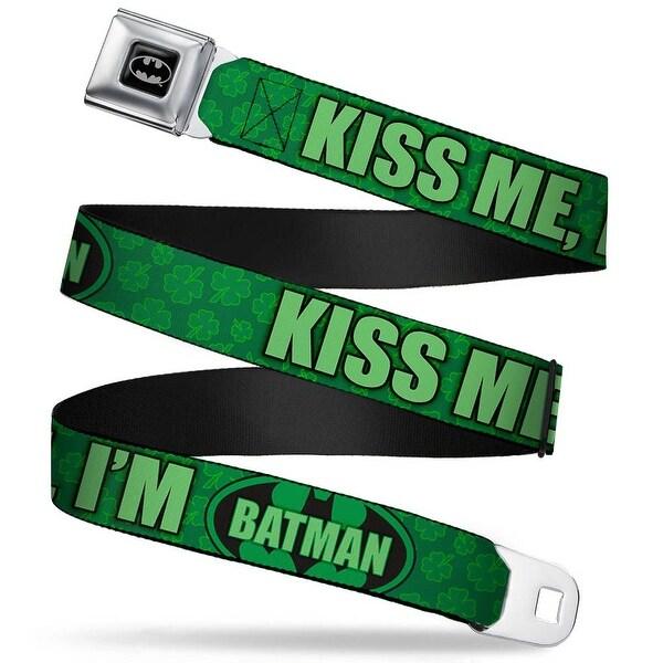 Batman Full Color Black Silver Black Kiss Me, I'M Batman Shamrocks Greens Seatbelt Belt