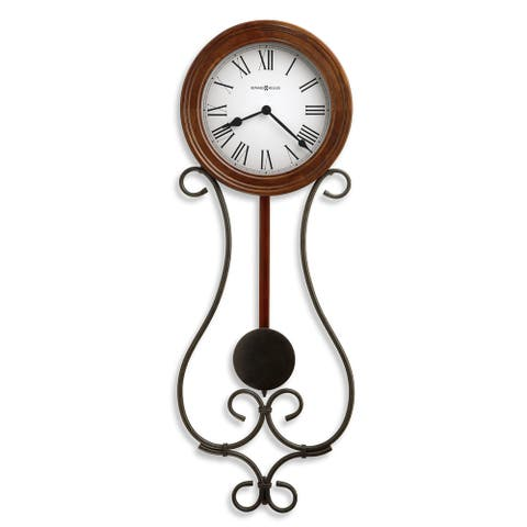 Howard Miller Addison Rustic, Farmhouse Chic, Industrial, and Transitional Style Wall Clock with Pendulum, Reloj De Pared