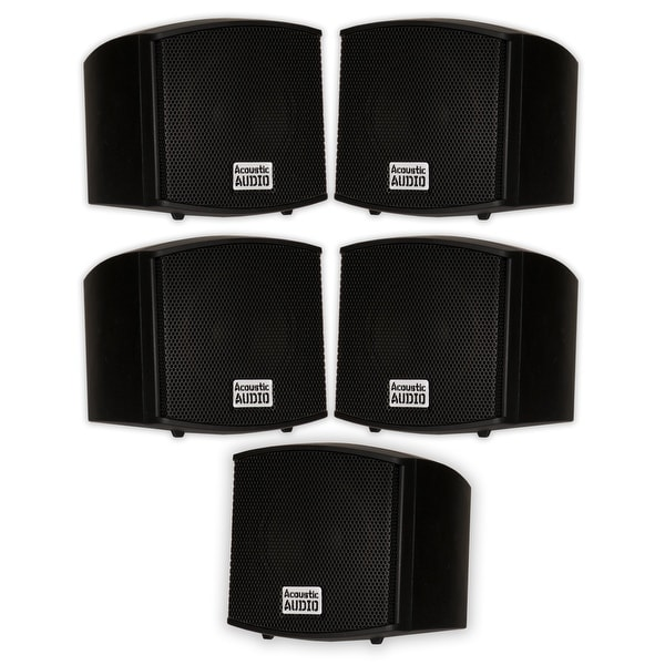 Acoustic Audio AA321B Indoor Black Mount Speakers 1000W 5 Piece Set AA321B-5S