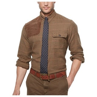 Ralph Lauren RL Houndstooth Twill Hunting Work Shirt Wheat Brown Small