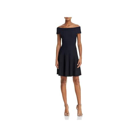 d30fbc658436 French Connection Womens Olivia Cocktail Dress Crepe Off-The-Shoulder