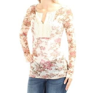 RALPH LAUREN $60 Womens New 1203 Ivory Floral Sheer Long Sleeve Tunic Top XS B+B