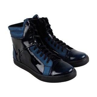 Kenneth Cole New York Double Header Ii Mens Black Leather High Top Sneakers  Shoes