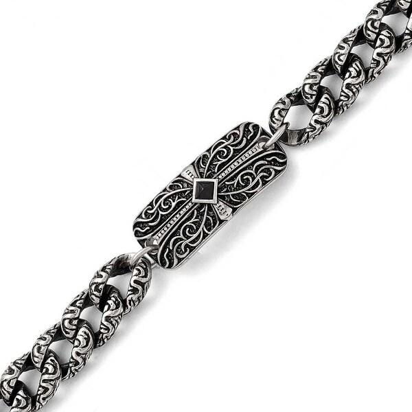 Chisel Stainless Steel Antiqued 9in Bracelet