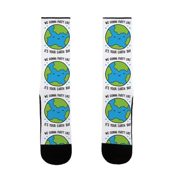 LookHUMAN We Gonna Party Like It's Your Earth Day US Size 7-13 Socks