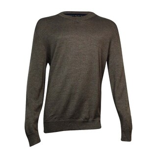 Club Room Men's Merino Blend V-Neck Sweater (Dark Taupe Heather, LT) - dark taupe heather - lt