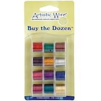 Artistic Wire, 12 Pack Craft Wire Assortment - Multi-Color Tarnish Resistant 20 Gauge