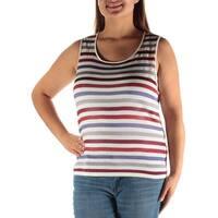 ANNE KLEIN Womens Blue Striped Sleeveless Scoop Neck Top  Size: XL