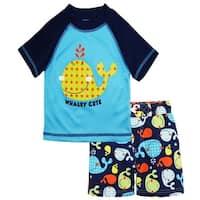 iXtreme Toddler Boys Swimwear Cute Whale Board Short Swim Trunk Rashguard Set
