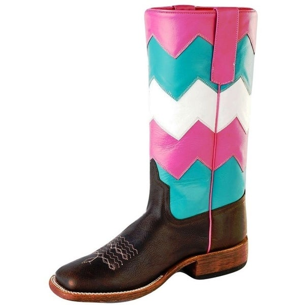 Macie Bean Western Boot Womens Leather Moves Zagger Chevron Pink