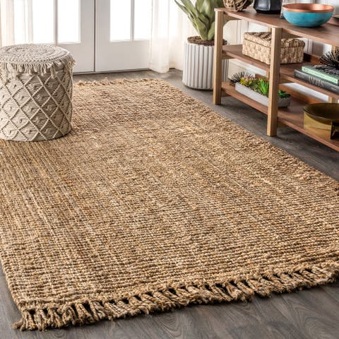 Para Hand Woven Chunky Jute with Fringe Area Rug