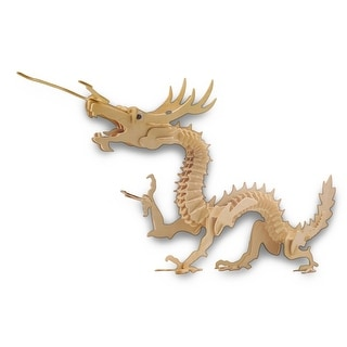 Large 37 Inch X 19 Inch Asian Dragon 3-D Wooden Puzzle 148 Pieces - beige