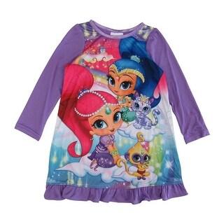 Nickelodeon Girls Purple Shimmer Shine Long Sleeve Ruffle Nightgown
