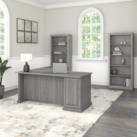 Saratoga L Shaped Computer Desk and Bookcase Set by Bush Furniture