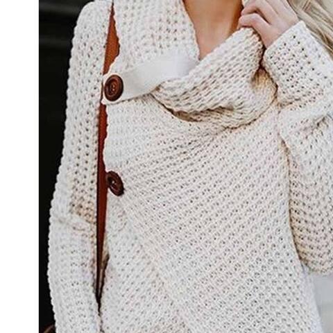 New Fashion Solid Color Long Sleeve Buttons Loose Pullovers Turtleneck Irregular Hem Tops Split Knited