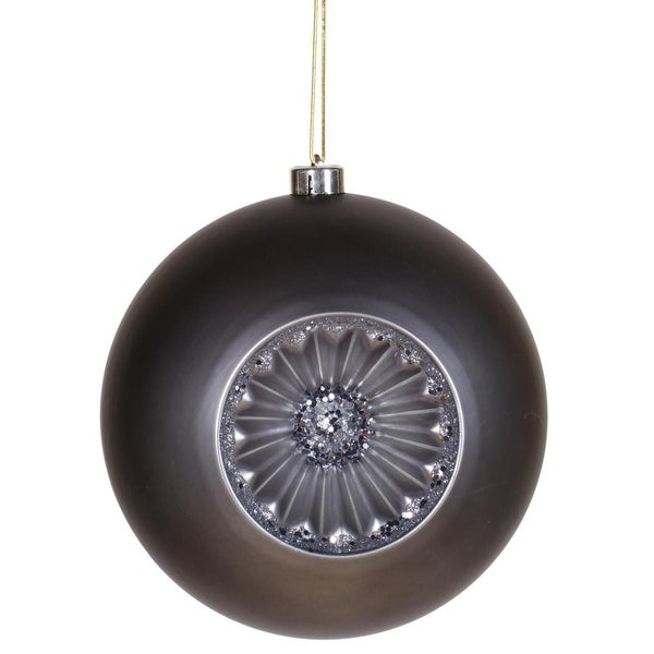 "Matte Pewter Retro Reflector Shatterproof Christmas Ball Ornament 8"" (200mm)"
