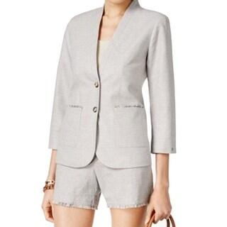 Tommy Hilfiger NEW Gray Frayed Trim Women's Size 6 Blazer Jacket