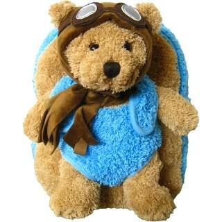 Kreative Kids Unisex Brown Aviator Pilot Bear Plush Backpack