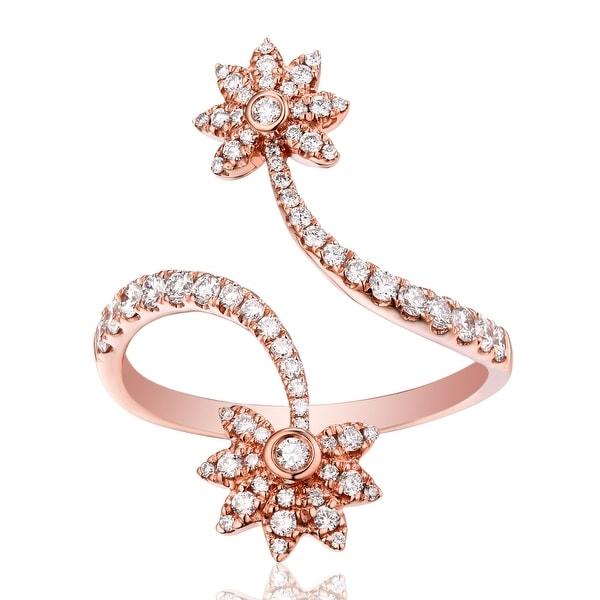 Fabulous 0.53 Carat Natural G-H/SI1 Diamond Designer Bypass Ring - White G-H