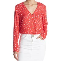 Love Fire Red Women's Size XS Surplice V-Neck Bodysuit Blouse