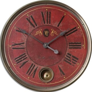 "23"" Weathered Red and Cast Brass Internal Pendulum Wall Clock"