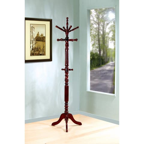 Old-Style Wooden Coat Rack With Spining Top, Brown