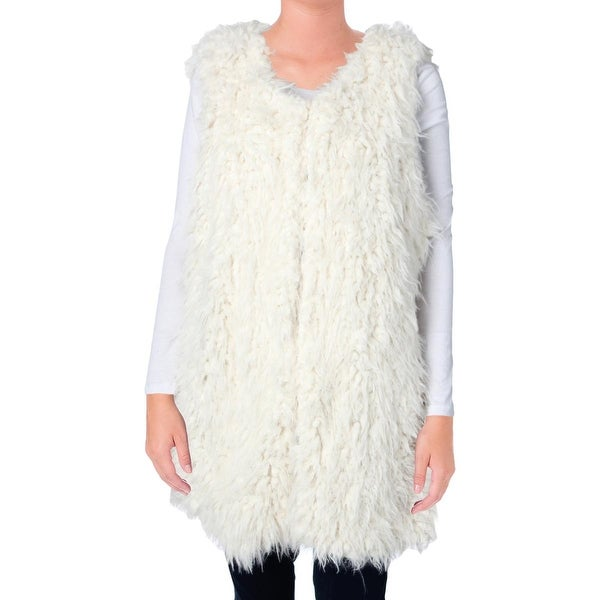 Two by Vince Camuto Womens Outerwear Vest Faux Fur Lined